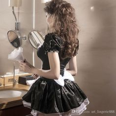 This cosplay and crossdresser maids outfit is a very comfortable but sexy costume, you won't want to do much cleaning in this outfit as the sensual feel and Maid Outfit, Maid Dress, Plus Size Lingerie, Sexy Lingerie, French Maid Costume, Maid Cosplay, Maid Uniform, Black Velvet Dress, Fashion Mode