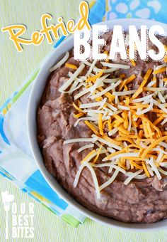 Our Best Bites version of Homesick Texans Refried Beans. Best. Ever. These look very similar to my MIL's amazing refried beans, plus a little kick (which I like!-- though the kids might prefer it without the jalapeno) so definitely one to keep on the recipe shelf