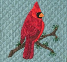 (7) Name: 'Quilting : Northern Cardinal Applique Block