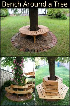 Bench Around a Tree This Furniture Creates a Place to Enjoy a Book, Good Conversation or a Drink Right in Your Backyard Related posts:DIY Palettenlounge, Dekorationsideen für Terrasse und Garten, und einfache Ideen. Backyard Projects, Backyard Patio, Garden Projects, Garden Ideas, Backyard Ideas, Pool Ideas, Fence Ideas, Outdoor Projects, Patio Ideas