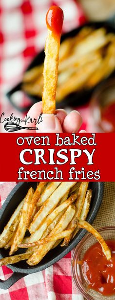 Oven Baked French Fries are fluffy on the inside and crispy on the outside! Soaking the potato slices in water and then baking them at two temperatures are the tricks that will make these french fries the best you've ever tasted! -Cooking with Karli- #frenchfries #fries #crispy #oven #baked
