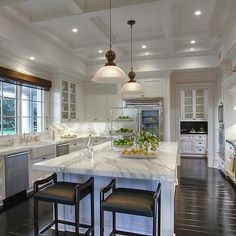 Coffered Ceiling Kitchen, Traditional, kitchen, Pricey Pads