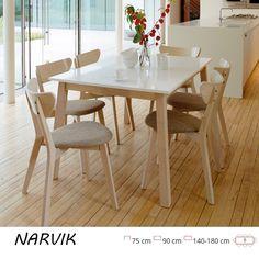 Narvik skandináv stílusú, bővíthető, tölgyfa keretes étkezőasztal. Az asztallap MDF lapból készült, tölgy-fehér színben és mérete: 140-180 cm.