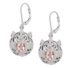 Generations 1912 Morganite  Sapphire Gold Plate Sterling Silver Earrings