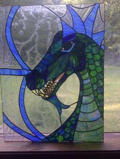 Justin's Dragon, an original stained glass design