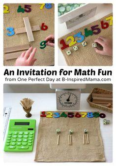 A Simple Math Fun Setup at B-Inspired Mama #kids #math #learning #kbn #binspiredmama