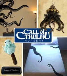Cthulhu Nursery! To visit the website with links to items in the photo click here: http://www.buzzfeed.com/donnad/20-diy-pop-culture-themes-for-your-babys-nursery?sub=1825755_655415