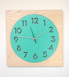 Round + Square Modern Wall Clock with Birch Frame and Laser Cut Face (Turquoise)