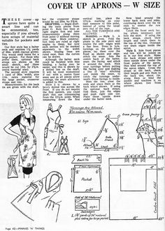 Free Apron Pattern Drafts. The Link was Through Pinnies and Things. Enid Gilchrist Aprons. So they had Pinterest before computers! LOL