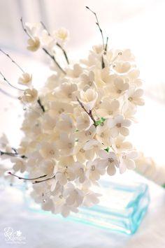 DK Designs - stephanotis and cherry blossom branch wedding bouquet with rhinestone embellishments.