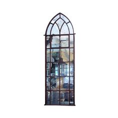 Antique Iron Gothic Arch Window Mirror ❤ liked on Polyvore featuring home, home decor, mirrors, windows, backgrounds, blue, filler, window mirror, blue mirror and arched window mirror