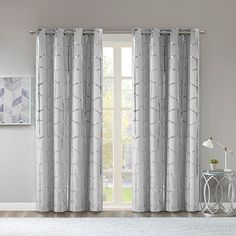 Shop for Intelligent Design Khloe Total Blackout Metallic Print Grommet Top Curtain Panel. Get free delivery On EVERYTHING* Overstock - Your Online Home Decor Outlet Store! Get in rewards with Club O! Blackout Panels, Blackout Curtains, Drapes Curtains, Curtains Living, Silver Curtains, Bedroom Curtains, Grommet Curtains, Drapery Panels, Window Panels