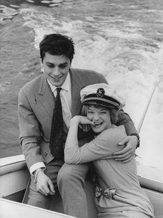 Alain Delon et Romy Schneider en Italie en Mars 1959.