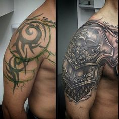 tattoo cover up before and after Tribal Tattoo Cover Up, Ankle Tattoo Cover Up, Tribal Cover Up, Black Tattoo Cover Up, Cover Tattoo, Schulterpanzer Tattoo, Sick Tattoo, Cover Up Tattoos Before And After, Tatuaje Cover Up