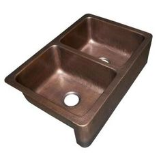 ECOSINKS, Apron Front Dual Mount Hand Hammered Pure Copper 33 in. Double Bowl Farmhouse Kitchen Sink in Antique Copper, K2A-1005ND at The Home Depot - Mobile