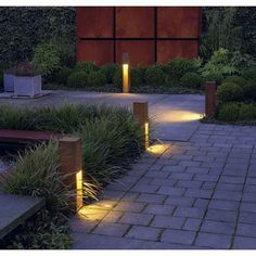 10 easy pieces pathway lighting outdoor path lighting cor ten plastic black solar led garden light with stake aloadofball Image collections