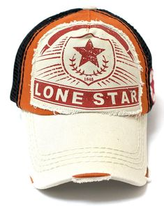 CAPS  N VINTAGE Rust Orange Black Meshback Lonestar Patch Embroidery  Trucker Hat Rust Orange d5a20d72bb58