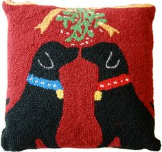 "Kissing Black Labrador Dogs Mistletoe - 16"" Hooked Wool Pillow ~ An Exclusive Design"