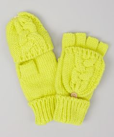 Take a look at this Yellow Cable-Knit Convertible Mittens on zulily today!