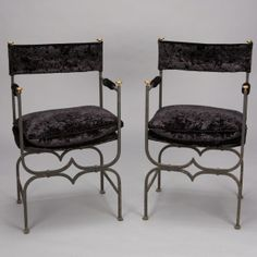 "Set of 4 French Empire Style Iron and Velvet Chairs --- This set of 4 circa 1920 French black finish iron frame armchairs have brass accents, black velvet brushed velvet upholstery, padded arms, and twisted metal stretchers. ---  Arm Height:  27"" ---  Seat Height:  19.5"" ---  Seat Depth:  13.5"" ---  Item: 2866 --- Retail Price:  $4895"