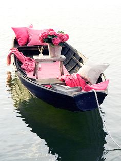 Romantic boat ride, not a fan of the pink but everything elseee