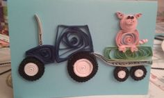 Tractor and pig by quilling