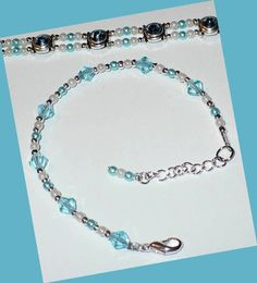 Aqua Crystal Bracelet // Aquamarine Glass Pearls // Adjustable // SRAJD