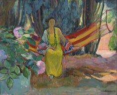 'Hamac', huile sur toile de Henri Lebasque (1865-1937, France)