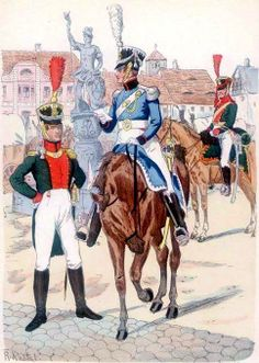 Saxony-from left to right: artillery officer, officer, Sergeant trains a horse artillery 1810 Fig. R. Knotel.