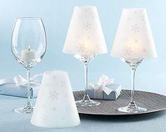 24 Snowflakes Vellum Wine Glass Shades Wedding/Party