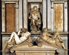 Statues on the Tomb of Giuliano de' Medici, Duke of Nemours, with the female Night and the male Day by Michelangelo. In the Medici Chapel, San Lorenzo, Florence. Die Renaissance, Italian Renaissance Art, Renaissance Kunst, Michelangelo Sculpture, Michelangelo Paintings, Miguel Angel, Sculpture Art, Sculptures, Italian Sculptors