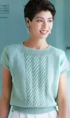 Knit Vest Pattern, Sweater Knitting Patterns, Knitting Designs, Knit Patterns, Hand Knitting, Knitwear Fashion, Sweater Fashion, Pullover Mode, Summer Knitting