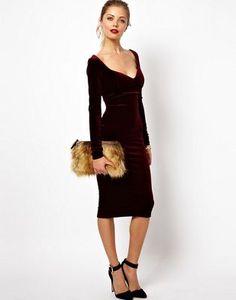 ASOS Velvet Sweetheart Bodycon Dress