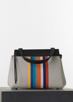 Céline Spring 2015 - Medium Edge Handbag in Multicolour Textile and Calfskin fe9bf534fe649