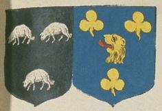 François DU CHILLEAU, Chevalier, Seigneur dudit lieu, et (Marie) Céleste REGNAULT, son épouze. Portent : de sable, à trois brebis paissantes d'argent, deux et une, acolé d'azur, à une tête de lion arrachée d'or, lampassée de gueules, accompagnée de trois trèfles d'or, deux en chef et l'autre en pointe | N° 183