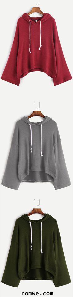 Drop Shoulder Drawstring Hooded Sweater