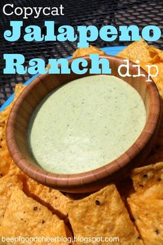 Bee of Good Cheer: Copycat Chuy's Jalapeno Ranch Dip - hope this is good and really taste like Chuy's.