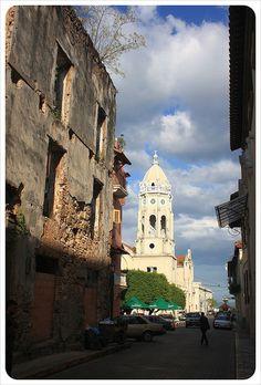 Casco Viejo street & church.  PANAMA   (by globetrottergirls, via Flickr)