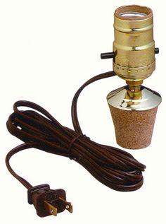 1 Cork Jug or Bottle Kit: Lamp Shop. Reducible cork plug inserts into bottle or jug for an instant lamp. Comes in 3 different sizes. Large Glass Bottle, Glass Jug, Bottle Lamp Kit, Bottle Art, Bottles And Jars, Glass Bottles, Liquor Bottle Crafts, Wine Jug Crafts, Bottle Lights