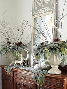White Christmas decor with a beautiful French Trumeau mirror