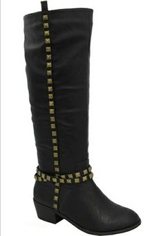 Janne-08 Studded Boots in Black