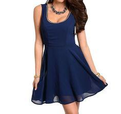 Jewel Deep Scoop Neck Fit Flare Reverse Lace Yoke Chiffon Cocktail Party Dress #Fashion #EmpireWaist #Cocktail