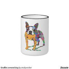 Graffiti covered dog ringer coffee mug