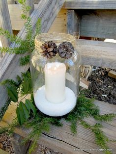 Old Pickle Jars Upcycled Into Pottery Barn Knockoffs :: Hometalk REVAMP for Thanksgiving with leaves and acorns?
