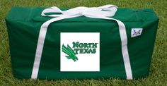 Our North Texas Mean Green Cornhole Storage Carrying Case. Get your custom case at victorytailgate.com