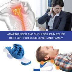 PAWING Chiropractic Pillow - Neck and Shoulder Relaxer Cervical Pillow Neck Traction Device for Pain Relief Management and Cervical Spine Alignment Shoulder Pain Relief, Neck Pain Relief, Neck And Shoulder Pain, Spine Alignment, Neck Support Pillow, Shoulder Massage, Tension Headache, Relaxer, Chiropractic