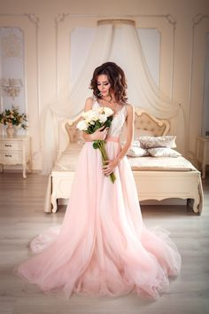Light pink wedding dress, rose quartz tulle, off white lace, non-corset, blush wedding dress Light Pink Wedding Dress, Tulle Wedding Skirt, Tulle Prom Dress, Wedding Dresses, Tulle Lace, Pink Tulle, Party Dress, Tulle Skirts, Wedding Fabric