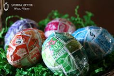 Vintage stamp covered eggs!
