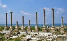 Tyre (Lebanon) was an ancient Phoenician city-state, one of of the most important cities in the ancient Near East. Built on an island just off shore, in the eastern Mediterranean, it controlled two natural harbors that enabled the city to gain a great maritime prominence. Image: The nine grey granite columns probably belong to the Palaestra, the gymnasium where athletes trained in Roman times.