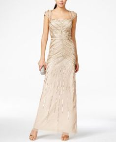 Adrianna Papell Cap-Sleeve Sequined Gown Love it, but it only comes in larger sizes. :/